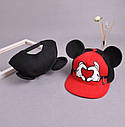 Детская кепка снепбек с ушками Микки Маус (Mickey Mouse) Disney с прямым козырьком Красная 2, Унисекс, фото 8