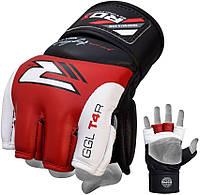 Перчатки  ММА RDX X2 из крупнозернистой кожи.  Красный