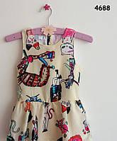 """Стильное платье для девочки """"Кошки"""" на девочку 7, 8 лет"""