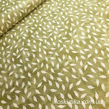 62018 Хаки листопад. Ткань с изображением листочков. Натуральные ткани с рисунком.