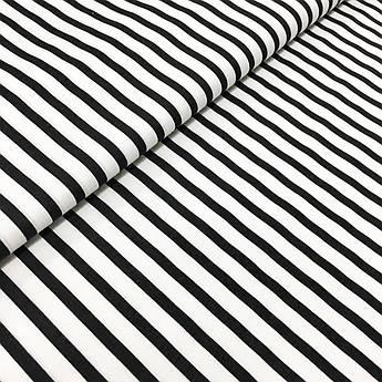"""Отрез ткани Польская хлопковая ткань """"полоска черная на белом 5мм"""" 150х160см"""