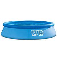 Круглый наливной бассейн для семьи Intex 28106 из прочного ПВХ (размер 244х61 см), цвет синий