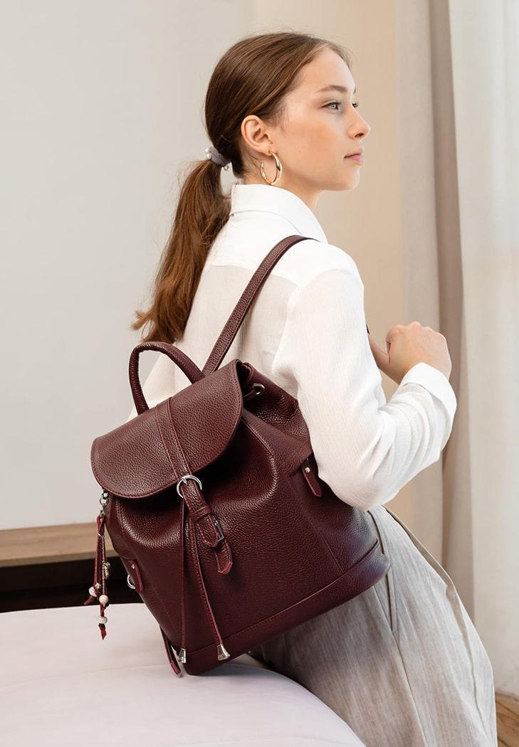 Рюкзак-сумка кожаный женский марсала (ручная работа)