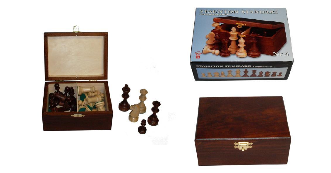 Шахматные фигуры 2042 Staunton N4 коричневые в дерев.коробке (король- 80мм)