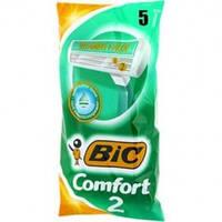 Бритвы Одноразовые станки для бритья  BIC 2 Comfort 5шт зелен