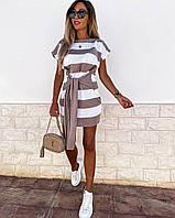 Платьемини женское стильное летнее из вязкив полоску с поясом Smol6021