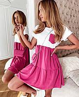 Платье мини женское шелковистое летнее свободного кроя с оборками и карманомSmol6022