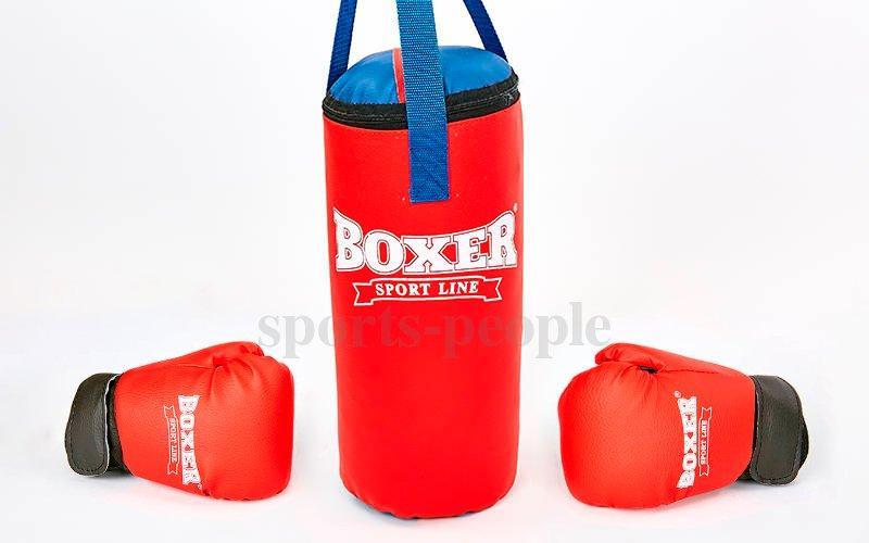 Боксерський набір Boxer: груша 38*16см +рукавички, 4унций