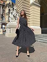 Платье миди женское красивое с пышной юбкой с поясомв горошек Smol6023