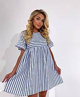 Платье мини женское летнее из льна свободного кроя в полоску Smol6024