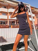 Платье мини женское стильное лаконичноена тонких бретельках Smsa6027