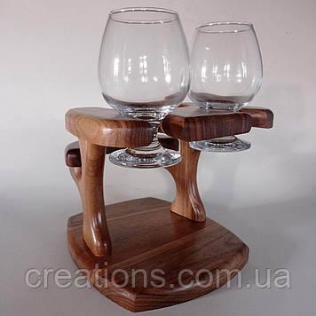 Столик міні бар з дерева під пляшку з двома келихами
