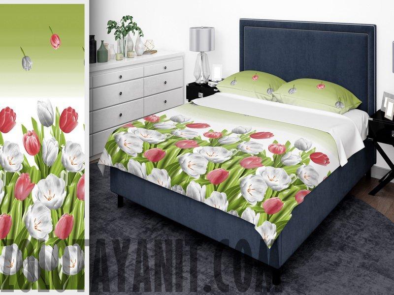 Комплект постільної білизни з бязі Люкс двоспальний Постільна білизна бавовна 180х215 Тюльпани