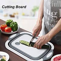 Практична кошик -Обробна дошка для миття фруктів і овочів складна 4 в 1, фото 1