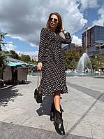 Платье миди Твист женское на запах из шелка с оборками в горошек Smdv6028