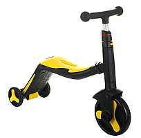 Scooter скутер 3 в 1(самокат, велосипед, беговел) з підсвічуванням і музикою (жовтий)