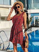 Платье мини Катя женское из штапеля нежное с рюшами впринт сердечки Smdv6029