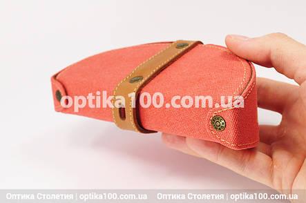 Джинсовий стильний футляр для окулярів ручної роботи зі шкіряною вставкою. Морквяного кольору, фото 2