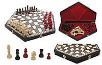 """Шахматы 3163 """"На троих"""" Сред.коричн, ф.кор., светл., красн. 35х10х20х4 король 57"""