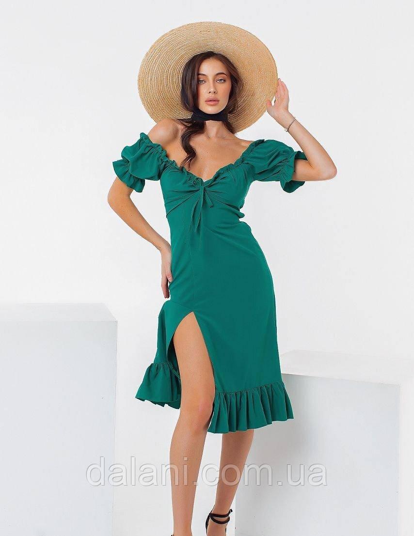 Жіночий зелений сарафан міді з розрізом і відкритими плечима