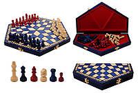 """Шахматы 316302 """"На троих"""" синие, фигуры син., свет., красн. 35х10х20х4 король 57"""