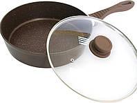 Сотейник с крышкой 28 см Lessner Chocolate с антипригарным покрытием мрамор 88364-28S