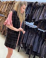 Женская норковая жилетка из натуральной норки натурального окрасаразмер М