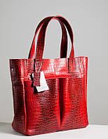 Большая кожаная женская сумка красного цвета рептилия
