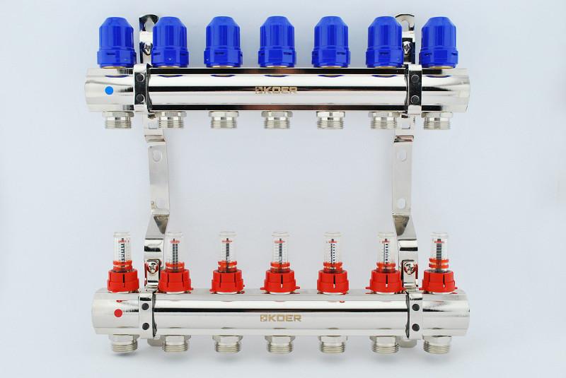 """Коллекторный блок с расходомерами Koer kr.1110-07 1""""x7 на семь контуров"""