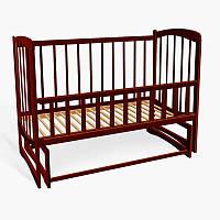 Кроватка деревян. маятник - откидной бортик Комета (1) ольха - цвет тёмно-коричневый
