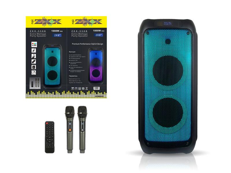 Акустична переносна колонка ZXX-5508 100Вт 8 дюймів 0х0х0см USB / SD / FM / BT / 2MIC / ДУ 1шт 9487