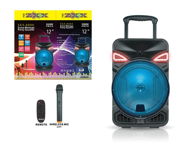 """Акустична переносна колонка ZXX-8886 40Вт 12 """"0х0х0см USB / SD / FM / BT / MIC / ДУ 1шт 9450"""