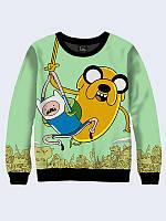 Світшот жіночий 3D Adventure time/Свитшот Летающие Джейк и Финн