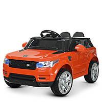 Детский электромобиль Джип Land Rover с кожаным сиденьем и пультом управления M 3402EBLR-7 оранжевый
