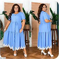 Літнє плаття жіноче довге з коротким рукавом вільний прикрашене мереживом великі розміри 48-66 арт. 3343, фото 1