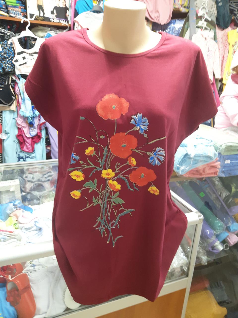Жіноча літня футболка великі розміри 52 - 58