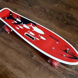 Детский скейт с ручкой Penny Board / детский скейтборд пенни со светящимися колесами