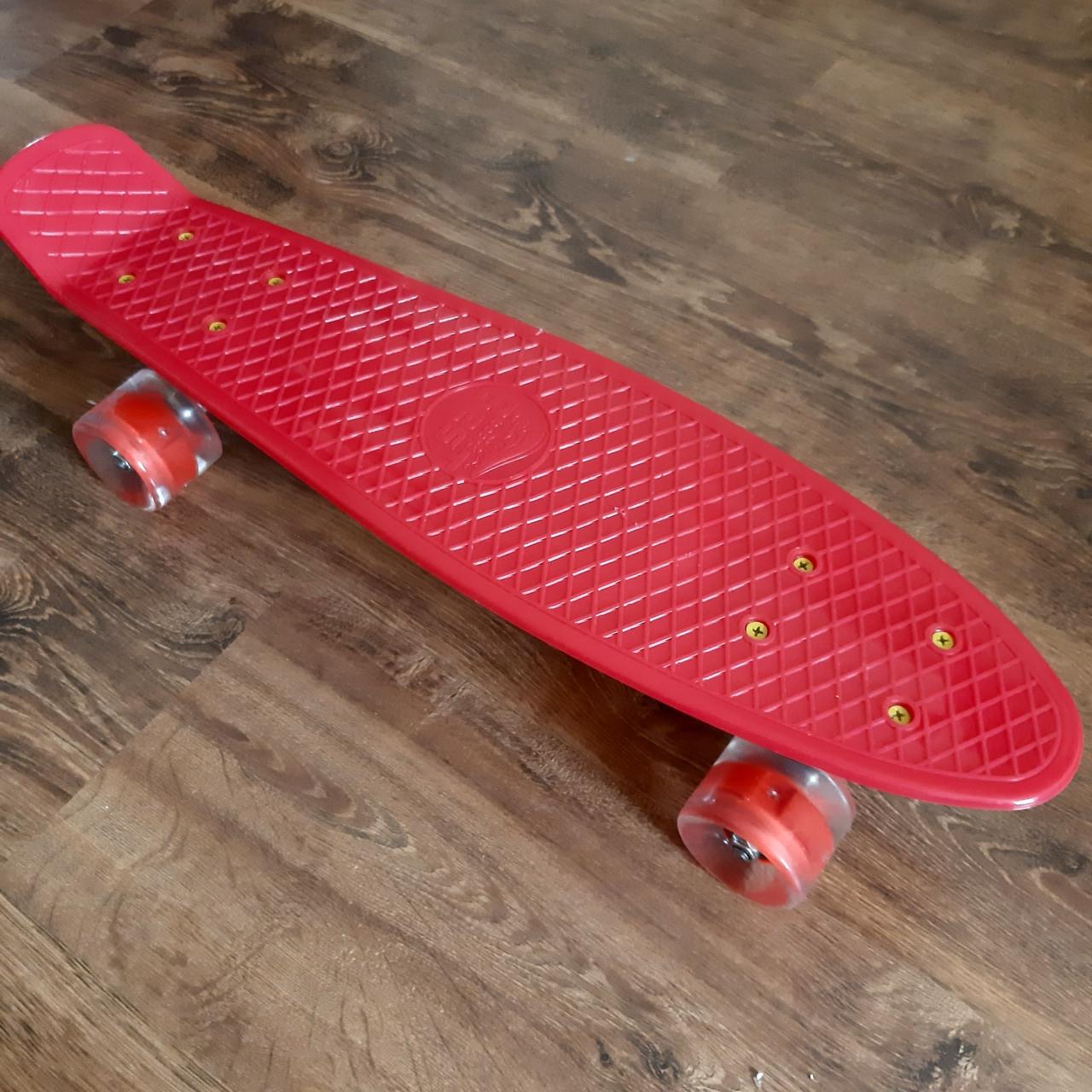 Скейт пенни борд для девочки Penny Board со светящимися колесами, красный
