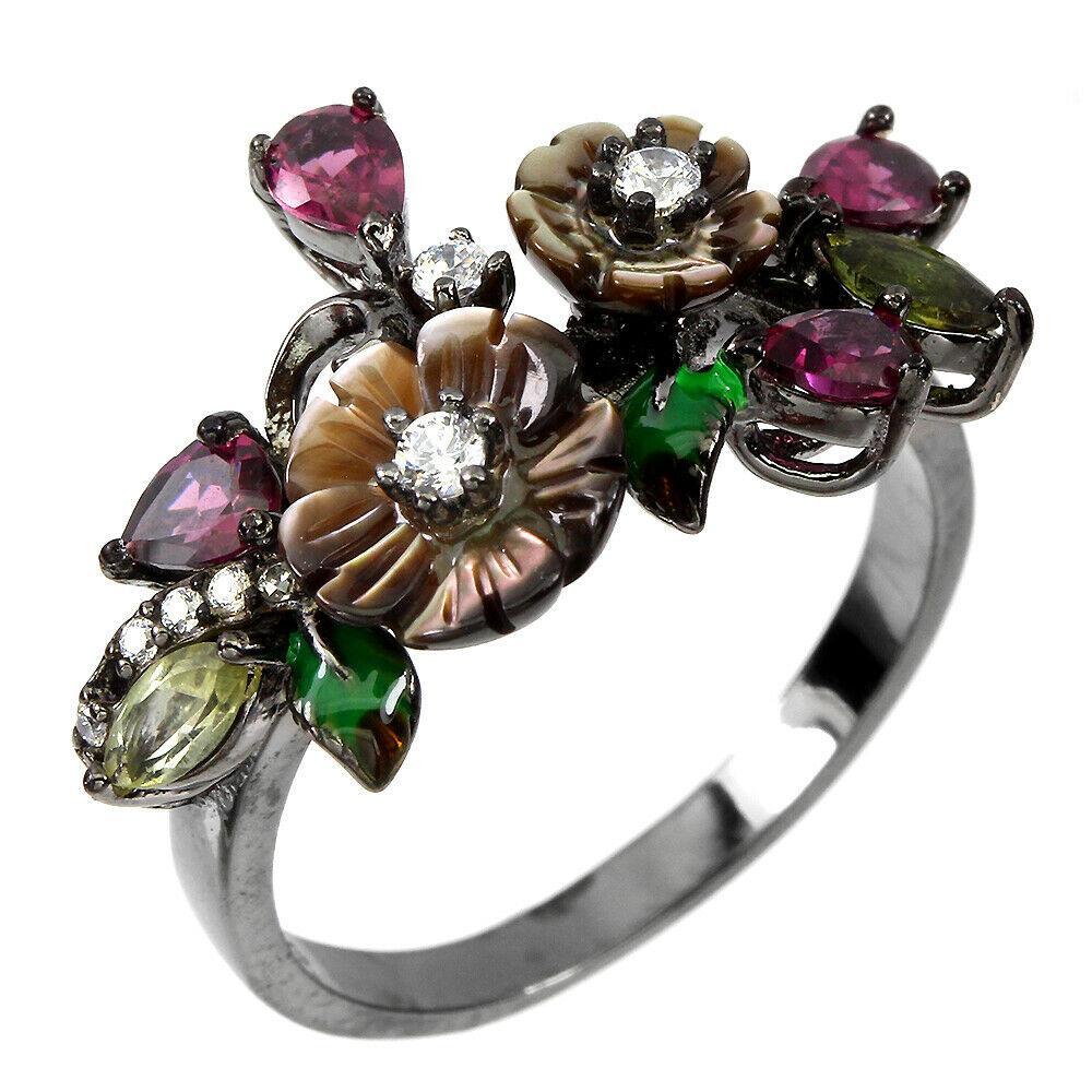 Серебряное кольцо с перламутром, родолитом и турмалином, 1748КП