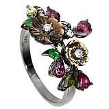 Серебряное кольцо с перламутром, родолитом и турмалином, 1748КП, фото 3