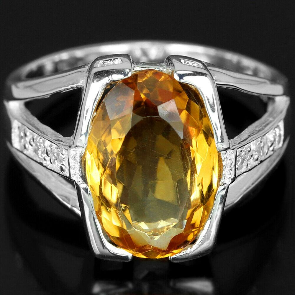 Серебряное кольцо с цитрином, 1755КЦ