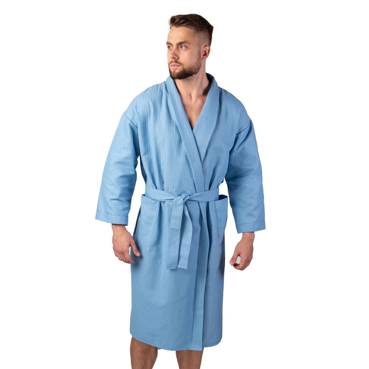 Вафельный халат мужской на запах Кимоно, синий