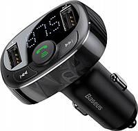 FM-модулятор Baseus S-09A T typed (Bluetooth, MP3) c функцией зарядного устройства Black, фото 1