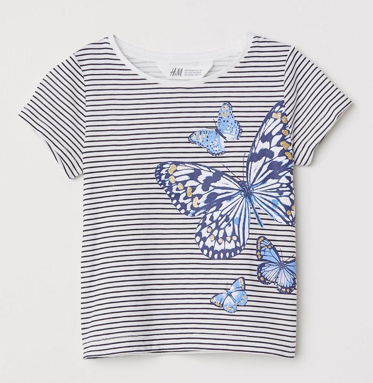 Летняя футболка на девочку 4-6 лет H&M Швеция Размер 110-116