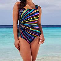 Женский красивый купальник большого размера, сдельный модный купальник с поролоновыми чашками
