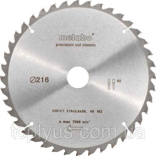 Пильний диск Metabo 216х1.8х30