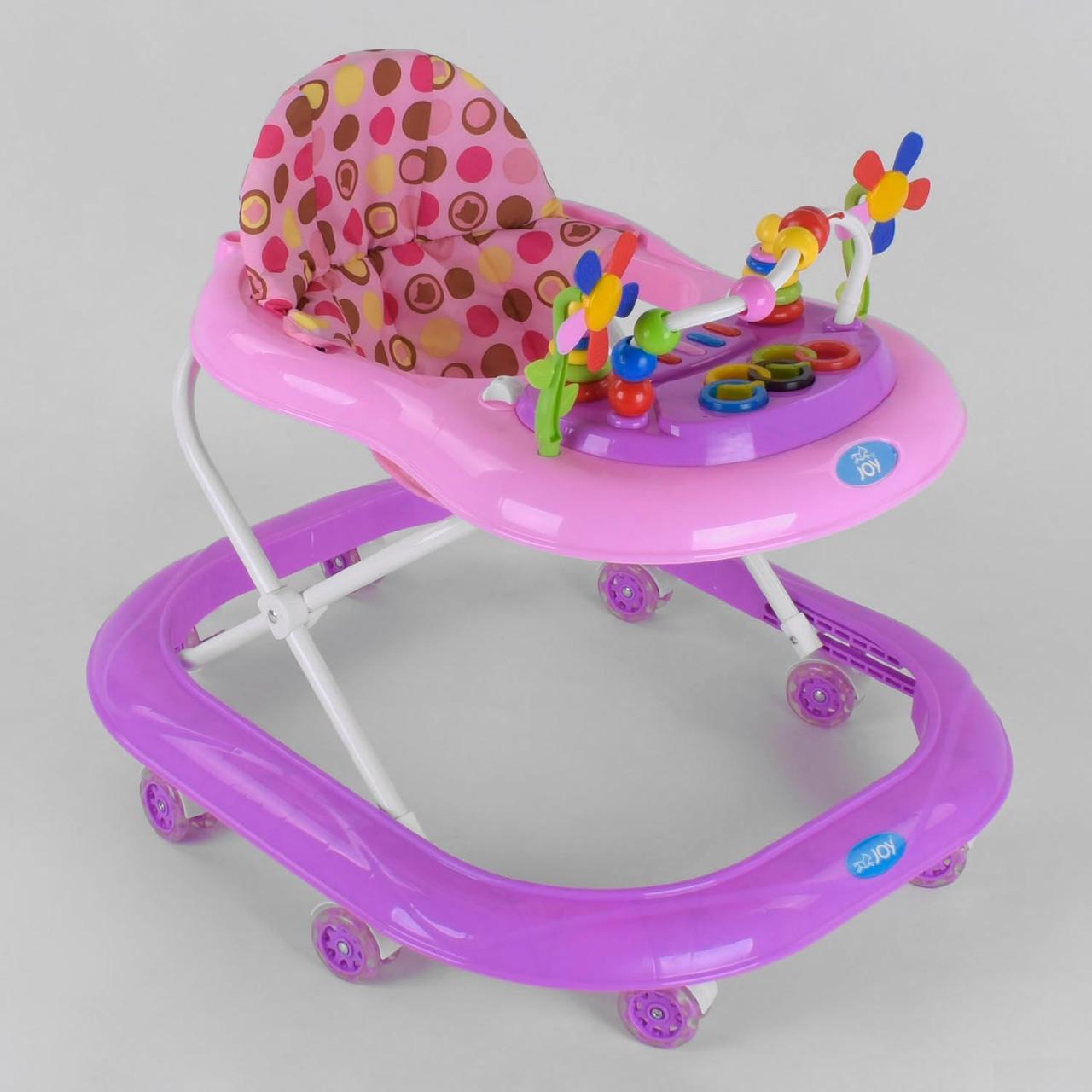 Дитячі ходунки для дівчинки рожеві / ходунки для дітей з силіконовими колесами