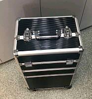 Бьюти кейс алюминиевый чемодан на колесах с ключом  трансформер черный 3561 Чемодан для мастеров на колёсиках