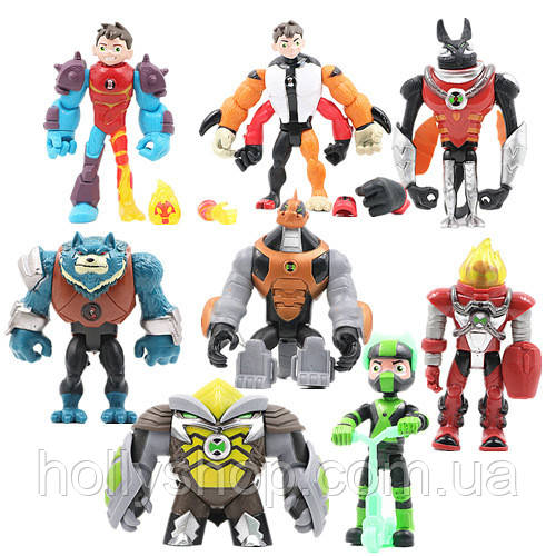 Игровой набор Ben 10 8 фигурок героев Бен 10, размер 10-12 см + Свет