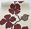 Фактурні німецькі флізелінові шпалери 140944, з великими і яскравими бордовими квітами на пастельному кремовому тлі, фото 2